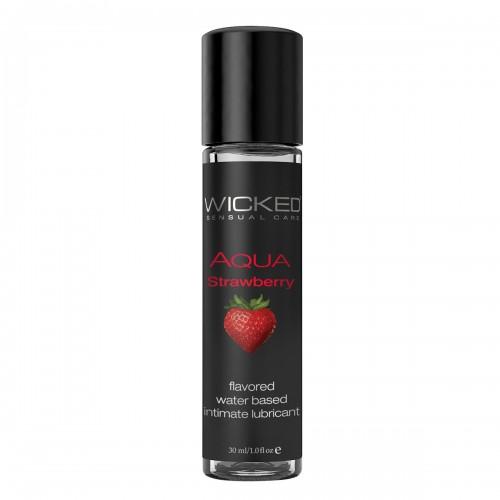 Лубрикант со вкусом сочной клубники WICKED AQUA Strawberry 30 ml