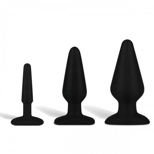 """Набор черных анальных плагов из силикона класса люкс 4"""", 5,5"""" и 6"""""""
