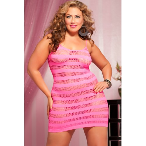 Розовое платье в полоску