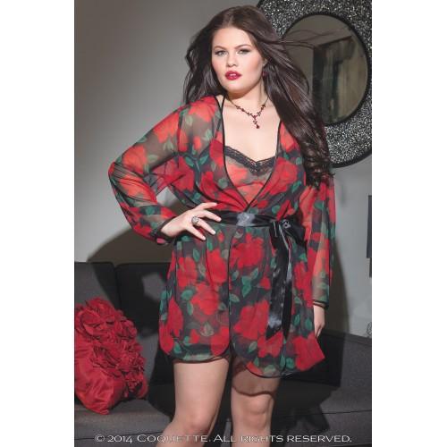 Черный халат с красным розами
