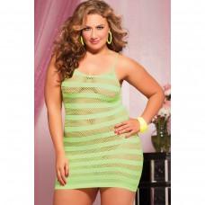Лаймовое платье в полоску