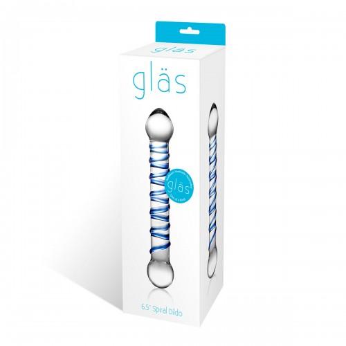 Прозрачный фаллос с голубой спиралью Spiral Dildo