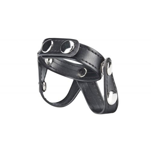Кольцо на пенис с разделителем мошонки из искусственной кожи на клепках V-STYLE COCK RING