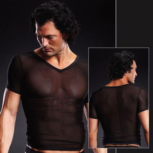Сетчатая футболка черная