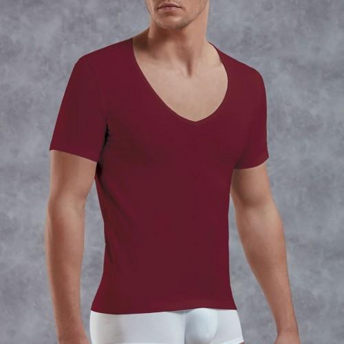 Красная футболка DOREANSE с V-образным вырезом