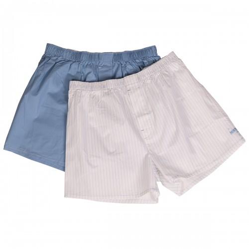 Мужские хлопковые трусы-шорты HUSTLER голубые и белые