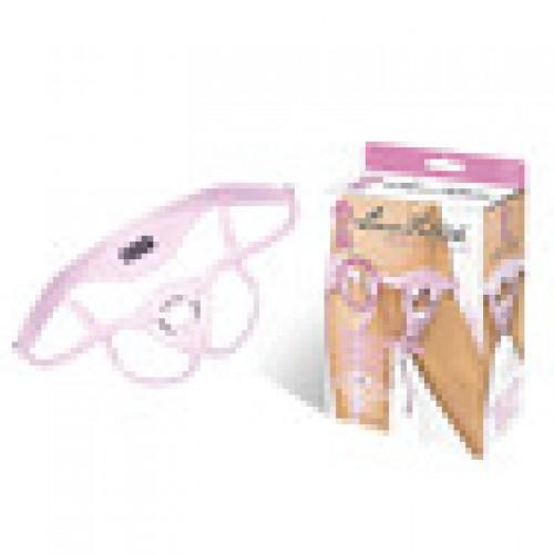Розовые трусики из патентованной кожи для страпона PNK