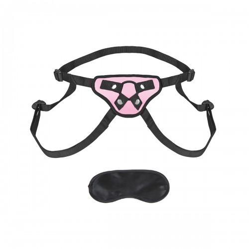 Розовые трусики-сердечко для страпона PNK