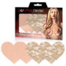 Телесные кружевные и сатиновые пэстисы-сердца NUDE AMBITION
