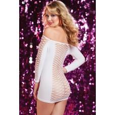 Белое платье в крупную сетку