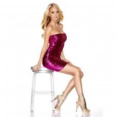Розовое платье-бандо с пайетками THE SPARKLING QUEEN