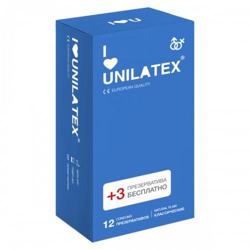 Классические презервативы Unilatex® Natural Plain 1 уп (12+3 шт)