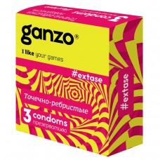 Презервативы GANZO Extase №3 точечные, ребристые, анатомической формы -1 уп (3 шт)