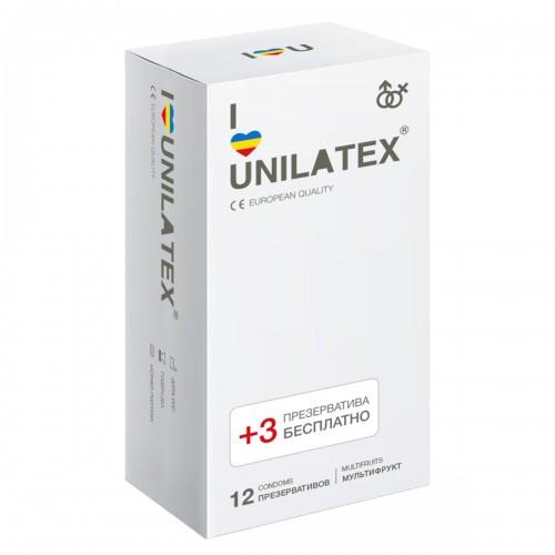 Мультифруктовые презервативы Unilatex® Multifruit 1 уп (12+3 шт)