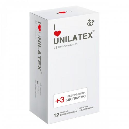 Ультратонкие презервативы Unilatex® Ultrathin 1 уп (12+3 шт)