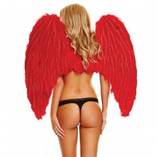 Большие красные крылья из натуральных перьев RED LOVE