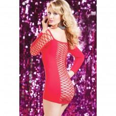 Красное платье в крупную сетку