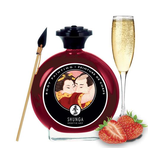 Съедобная краска по телу Shunga Клубничное шампанское 100 мл