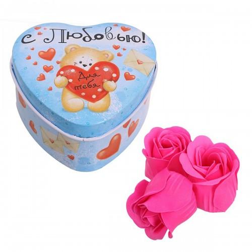 """Мыльные розы в шкатулке-сердце """"С любовью"""", 3 шт."""