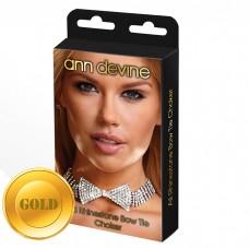 Ожерелье-бабочка из блестящих кристаллов золотое
